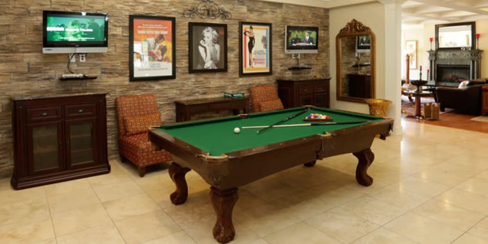 A billiards table at Lexington Park Apartment Homes in North Little Rock, Arkansas