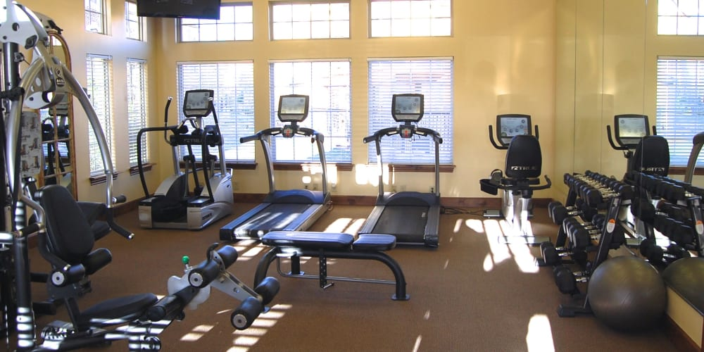 The fitness center at Park at Coulter in Amarillo, Texas