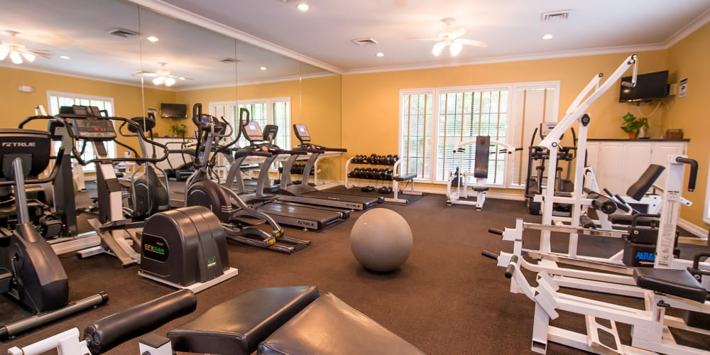 The fitness center at Arbors of Pleasant Valley in Little Rock, Arkansas