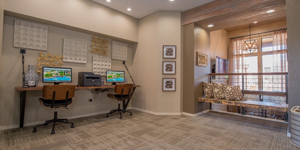 A public work station at Woodscape Apartments in Oklahoma City, Oklahoma