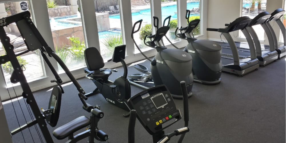 Fitness center for residents at The Chimneys Apartments in El Paso, Texas