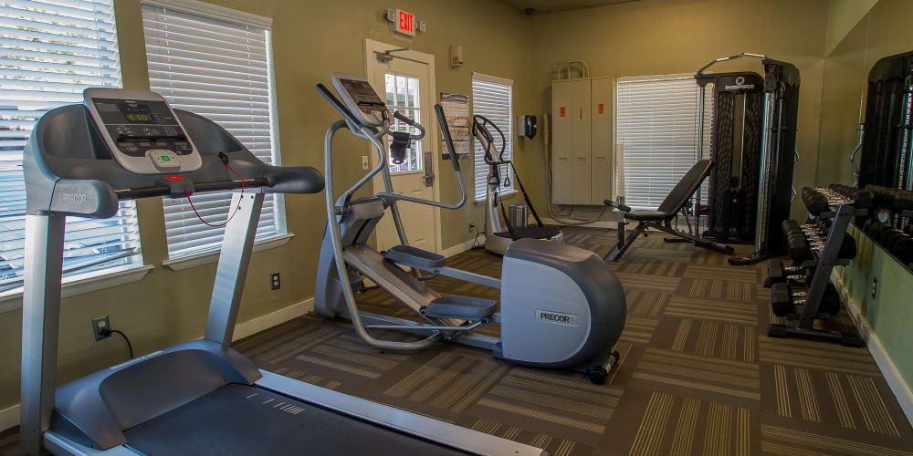 The fitness center at Barcelona Apartments in Tulsa, Oklahoma