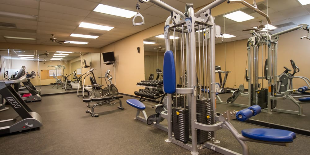 Fitness center for residents at The Mark Apartments in Ridgeland, Mississippi