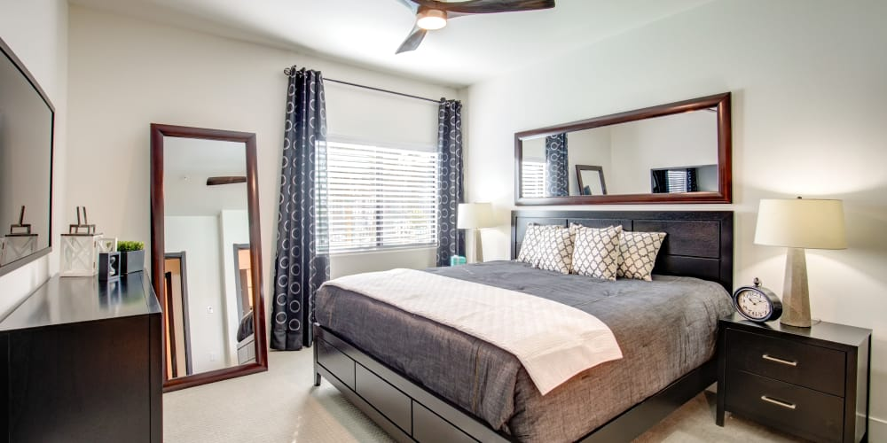 Model master bedroom at Empire in Henderson, Nevada