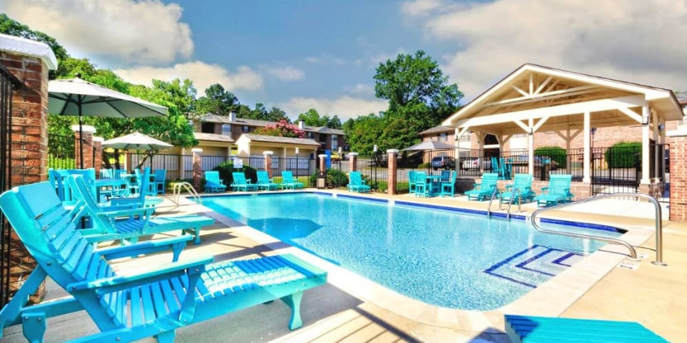 Sparkling swimming pool available at The Waterford in Little Rock, Arkansas.