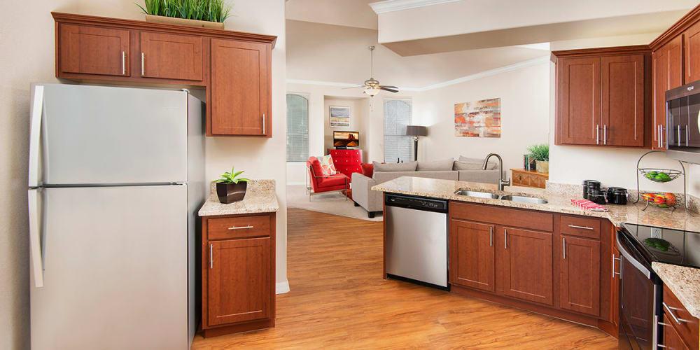 A bright, open kitchen at Villas on Hampton Avenue in Mesa, Arizona