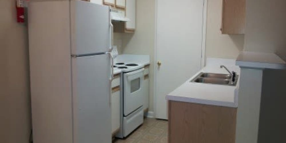 An apartment kitchen at Bristol Park Apartments in Jackson, Mississippi