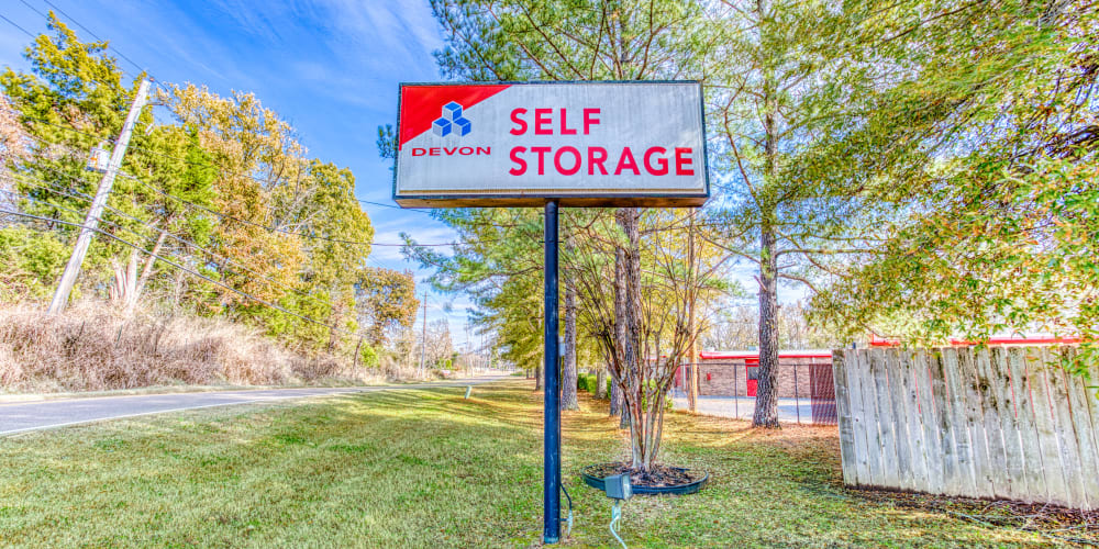 Devon Self Storage sign in front of entrance in Cordova, Tennessee