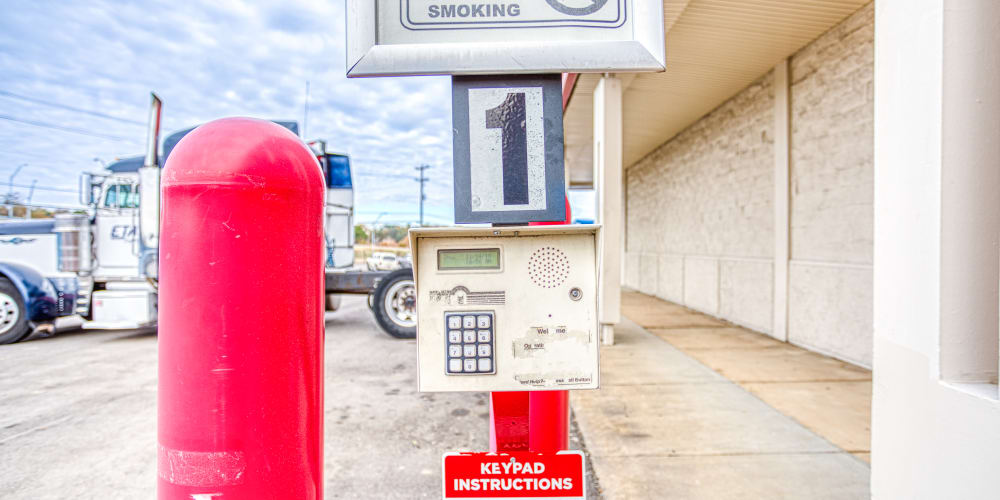 Keypad for gated entry into Devon Self Storage in Memphis, Tennessee