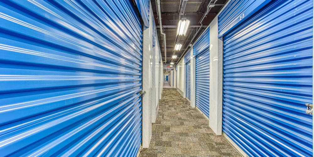 Walkway through climate-controlled storage units at Devon Self Storage in Memphis, Tennessee