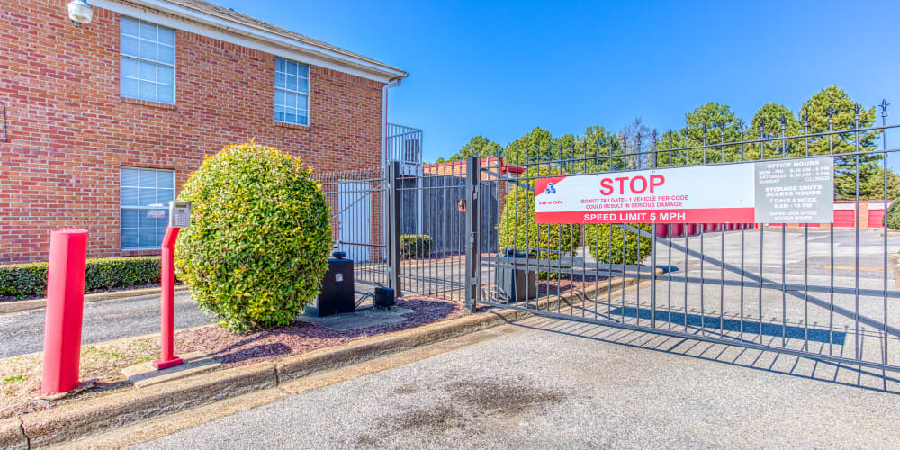 Gated entry to Devon Self Storage in Memphis, Tennessee