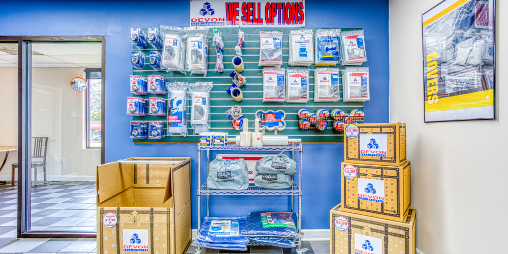Moving and packing supplies in Charlotte, North Carolina at Devon Self Storage