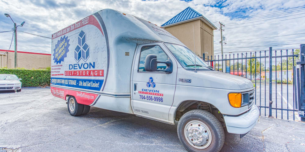 Moving truck available at Devon Self Storage in Charlotte, North Carolina