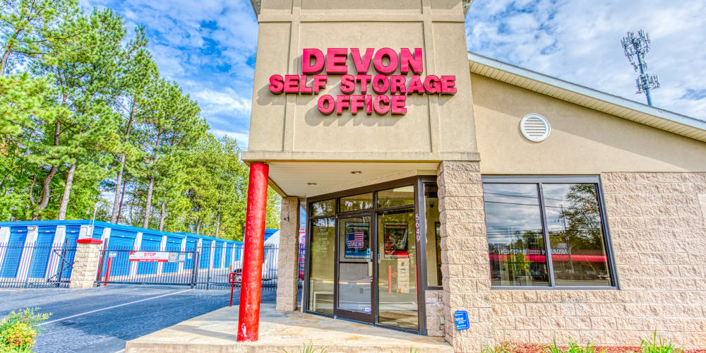 Front office of Devon Self Storage in Charlotte, North Carolina