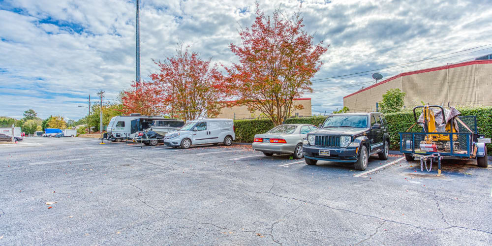 Parking spaces at Devon Self Storage in Charlotte, North Carolina