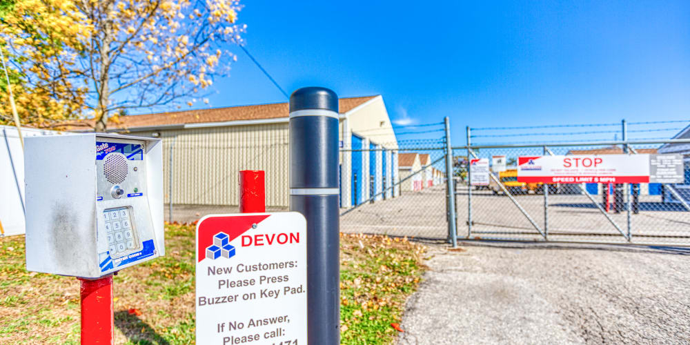 Gated entry to Devon Self Storage in Jenison, Michigan