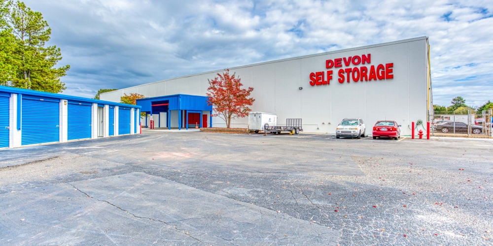 Large open driveways at Devon Self Storage in Charlotte, North Carolina