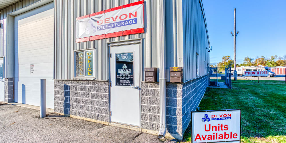 Front door into the leasing office at Devon Self Storage in Holland, Michigan