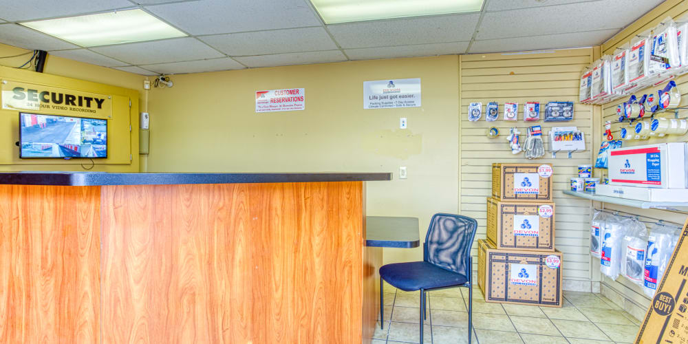 Front desk inside the leasing office at Devon Self Storage in Memphis, Tennessee