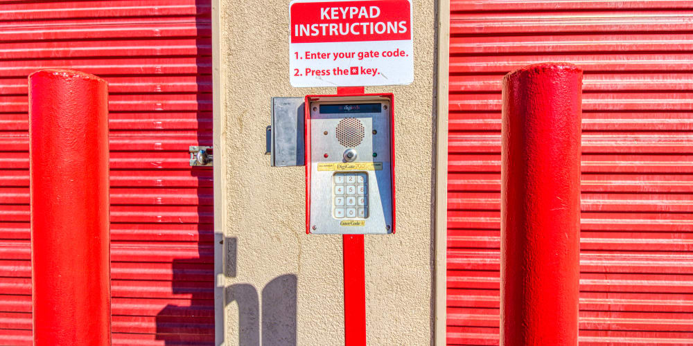 Keypad for gated entry in Thousand Palms, California at Devon Self Storage