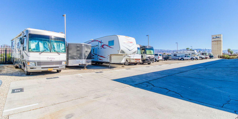 RV parking spaces at Devon Self Storage in Thousand Palms, California