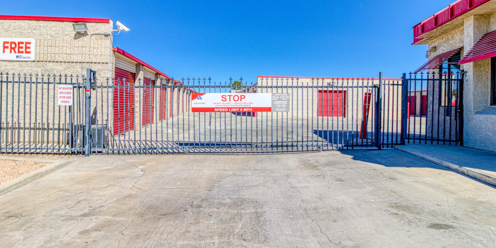 Gated entry into the self storage units in Apple Valley, California at Devon Self Storage
