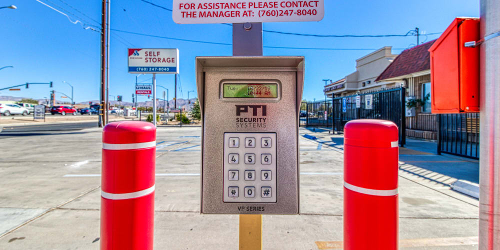 Keypad for gated entry in Apple Valley, California at Devon Self Storage