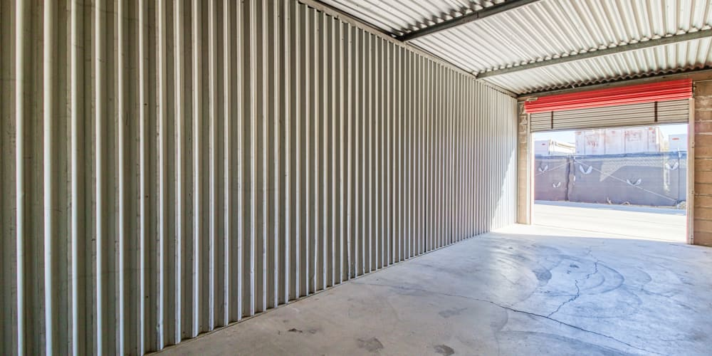 The inside of a self storage unit at Devon Self Storage in Apple Valley, California