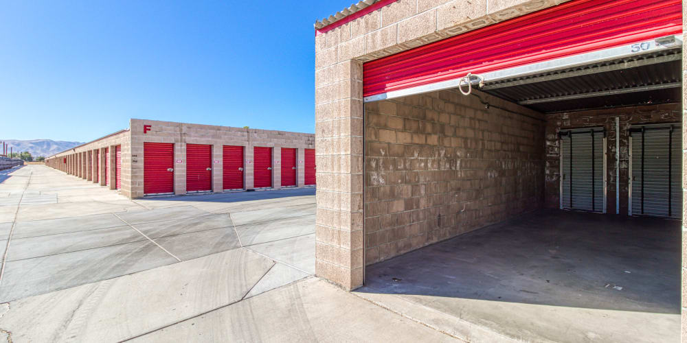 Self storage unit with the door rolled up at Devon Self Storage in Apple Valley, California