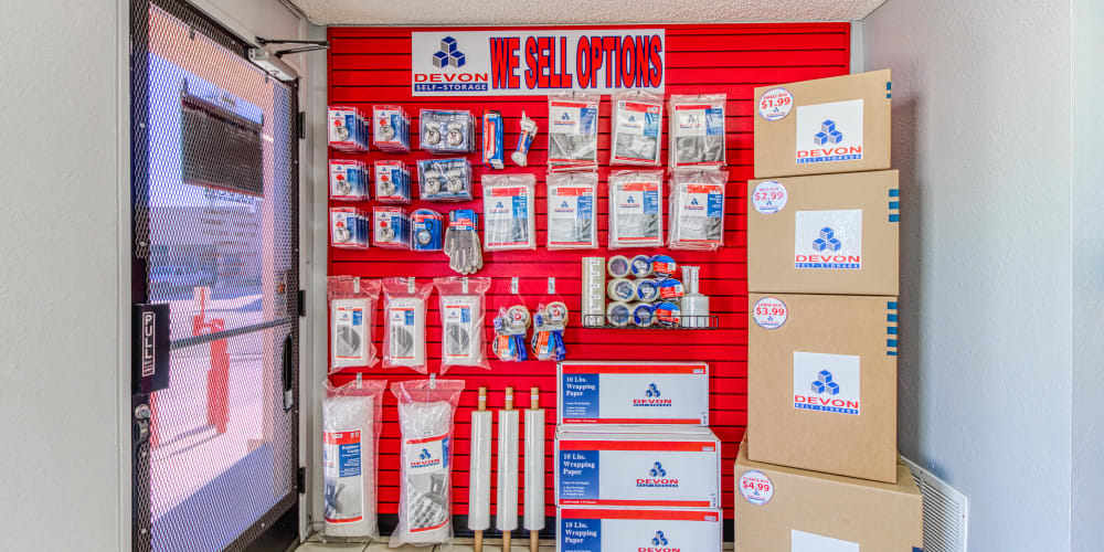 Moving and packing supplies at Devon Self Storage in Palm Springs, California