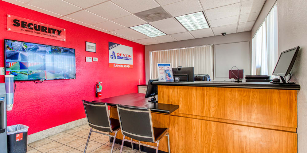 Leasing office at Devon Self Storage in Cathedral City, California