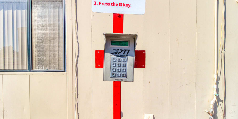 Keypad for gated entry in Cathedral City, California at Devon Self Storage