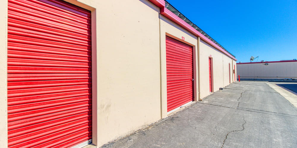 Roll-up doors on self storage units at Devon Self Storage in Cathedral City, California