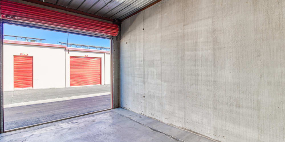 Inside of a self storage unit at Devon Self Storage in Cathedral City, California