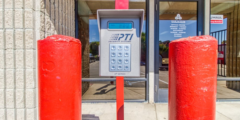 Keypad for gated entry in Palm Springs, California at Devon Self Storage