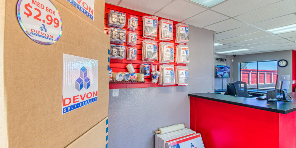 Front desk and packing supplies at Devon Self Storage in Palm Springs, California