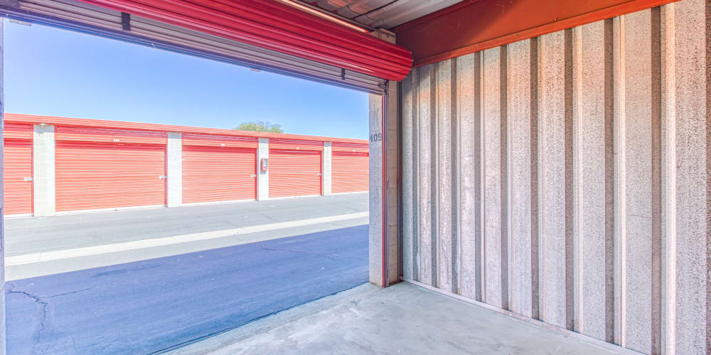 Inside of a self storage unit at Devon Self Storage in Palm Springs, California