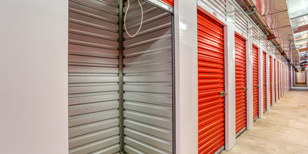 Inside of a climate-controlled self storage unit in Pasadena, Texas at Devon Self Storage