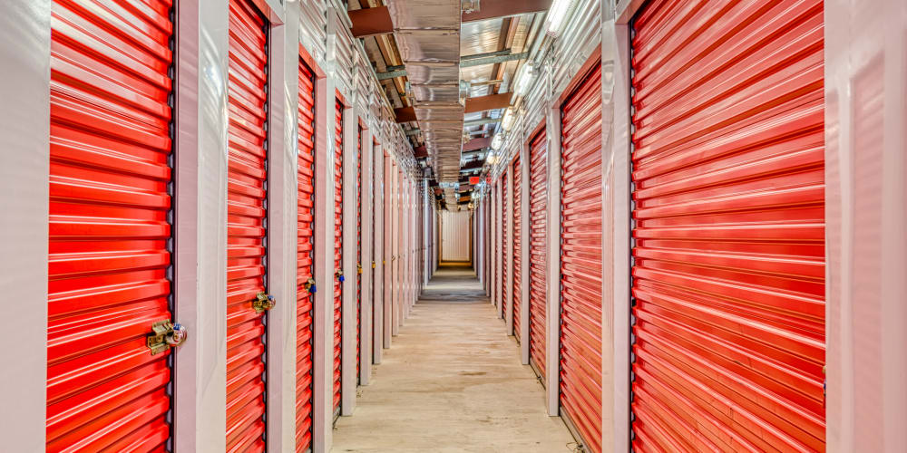 The walkway through climate-controlled storage units at Devon Self Storage in Pasadena, Texas