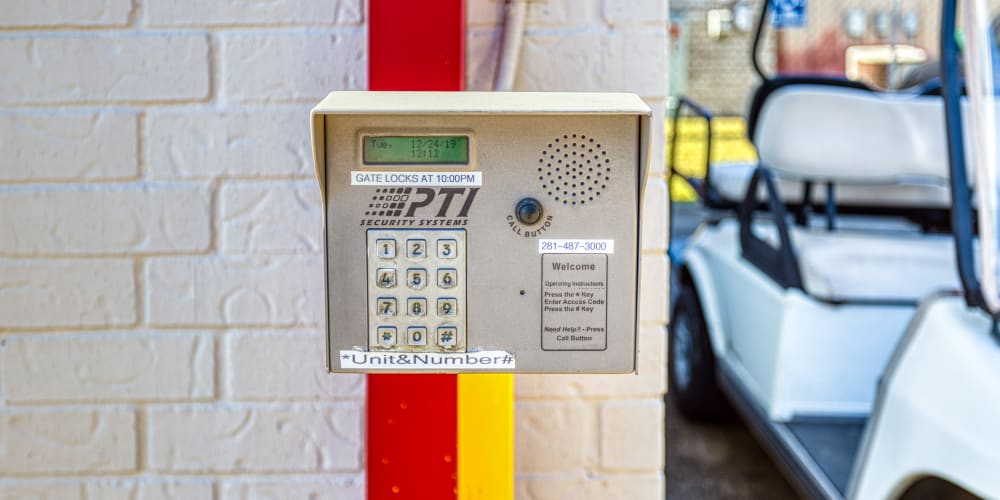 Keypad for the gated entry in Pasadena, Texas at Devon Self Storage