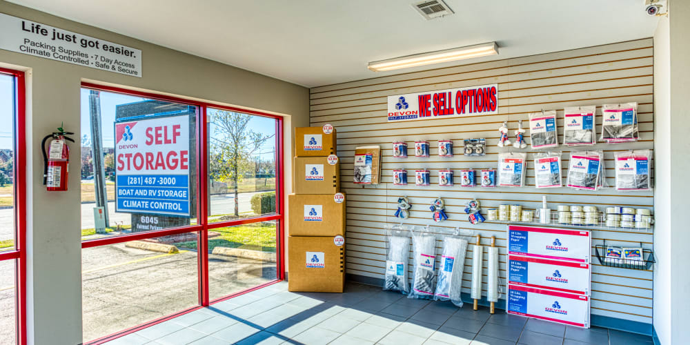 Front door and packing supplies at Devon Self Storage in Pasadena, Texas