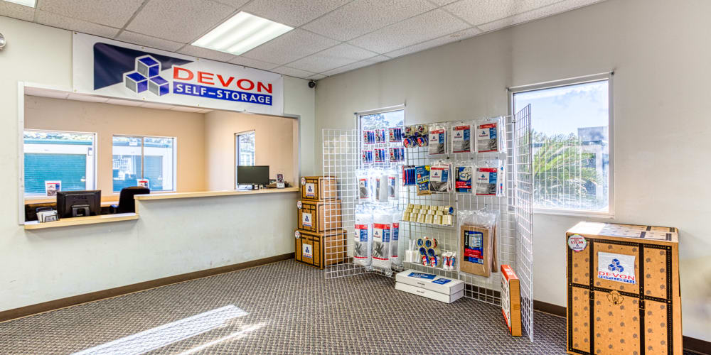 Leasing office and packing supplies in Spring, Texas at Devon Self Storage