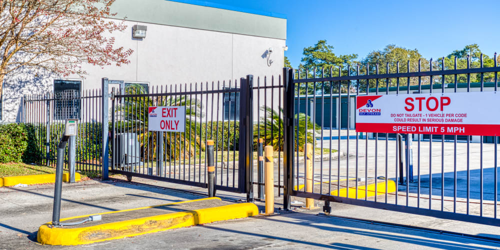 Gated entry at Devon Self Storage in Spring, Texas
