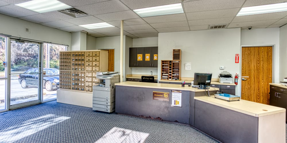 Leasing office at Devon Self Storage in Spring, Texas
