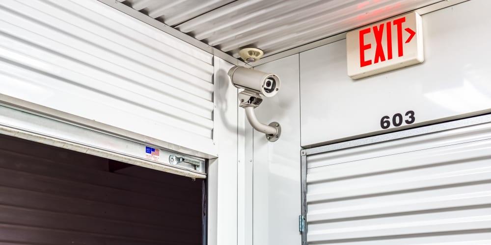 Video surveillance around self storage units in Greenville, Texas at Devon Self Storage