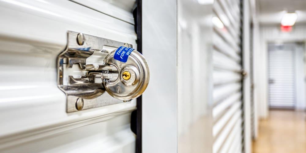 Lock on a self storage unit in Greenville, Texas at Devon Self Storage