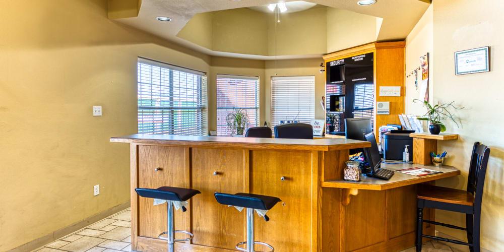 Front desk in leasing office at Devon Self Storage in Greenville, Texas