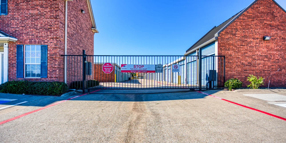 Gated entry into the self storage units at Devon Self Storage in Sherman, Texas