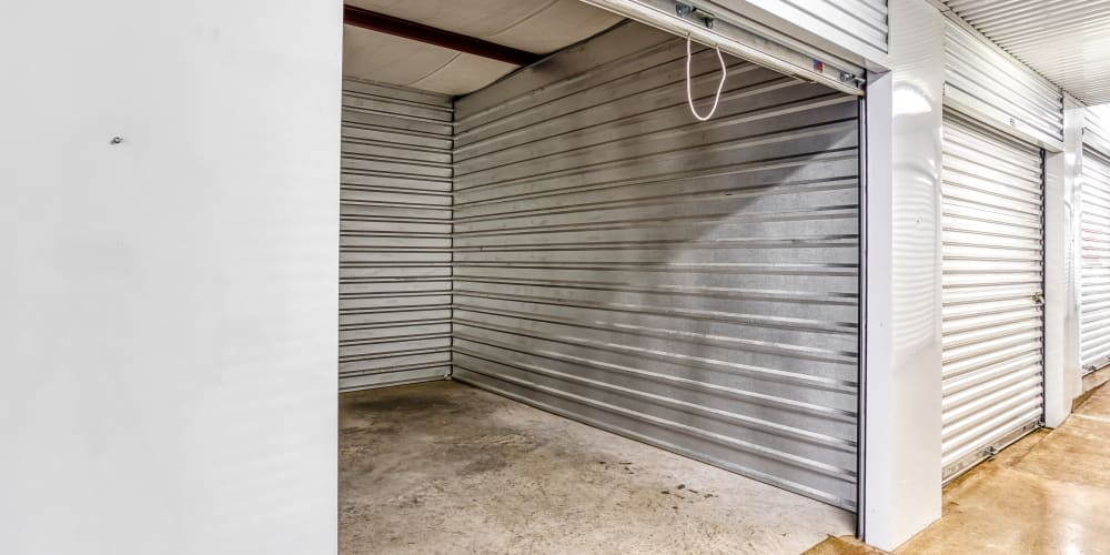 Inside of a climate-controlled storage unit in Sherman, Texas at Devon Self Storage