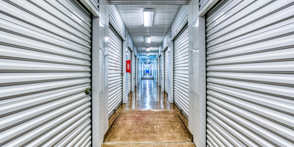 Walkway through climate-controlled storage in Sherman, Texas at Devon Self Storage